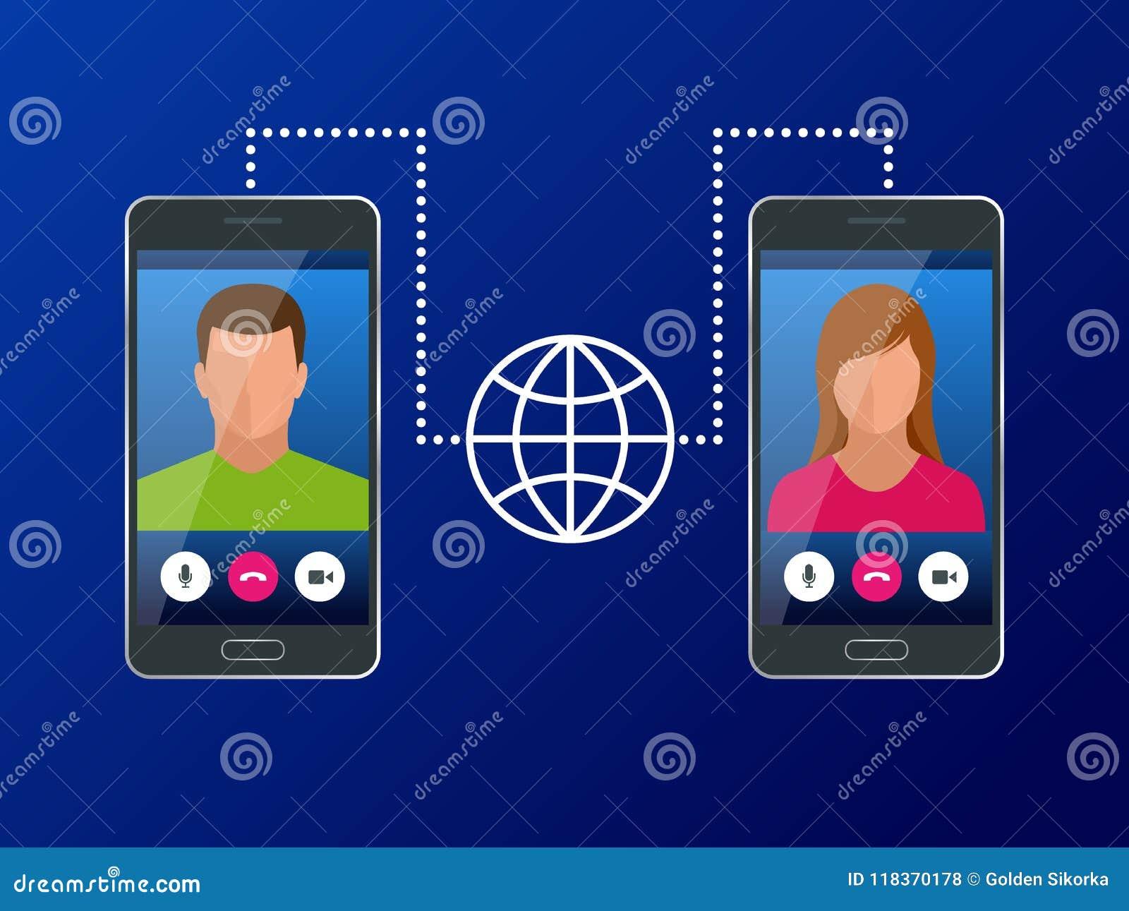 Isometric pojęcie światowa globalna komunikacja z długodystansowym Mężczyzna i kobieta komunikuje przez wideo gadki dalej
