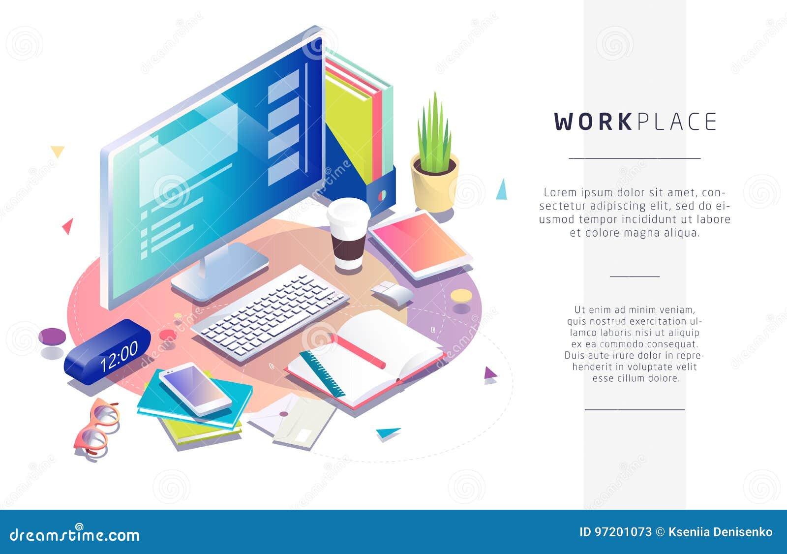 Isometric pojęcie miejsce pracy z komputerowymi i biurowymi equipmen