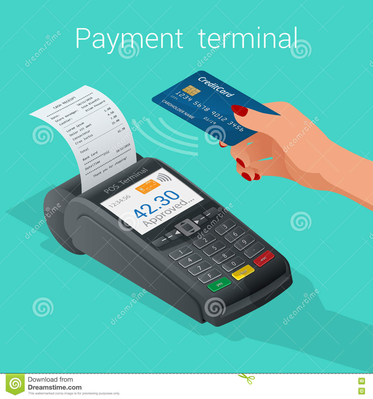 Isometric Pos Terminal Confirms The Payment By Debit Credit