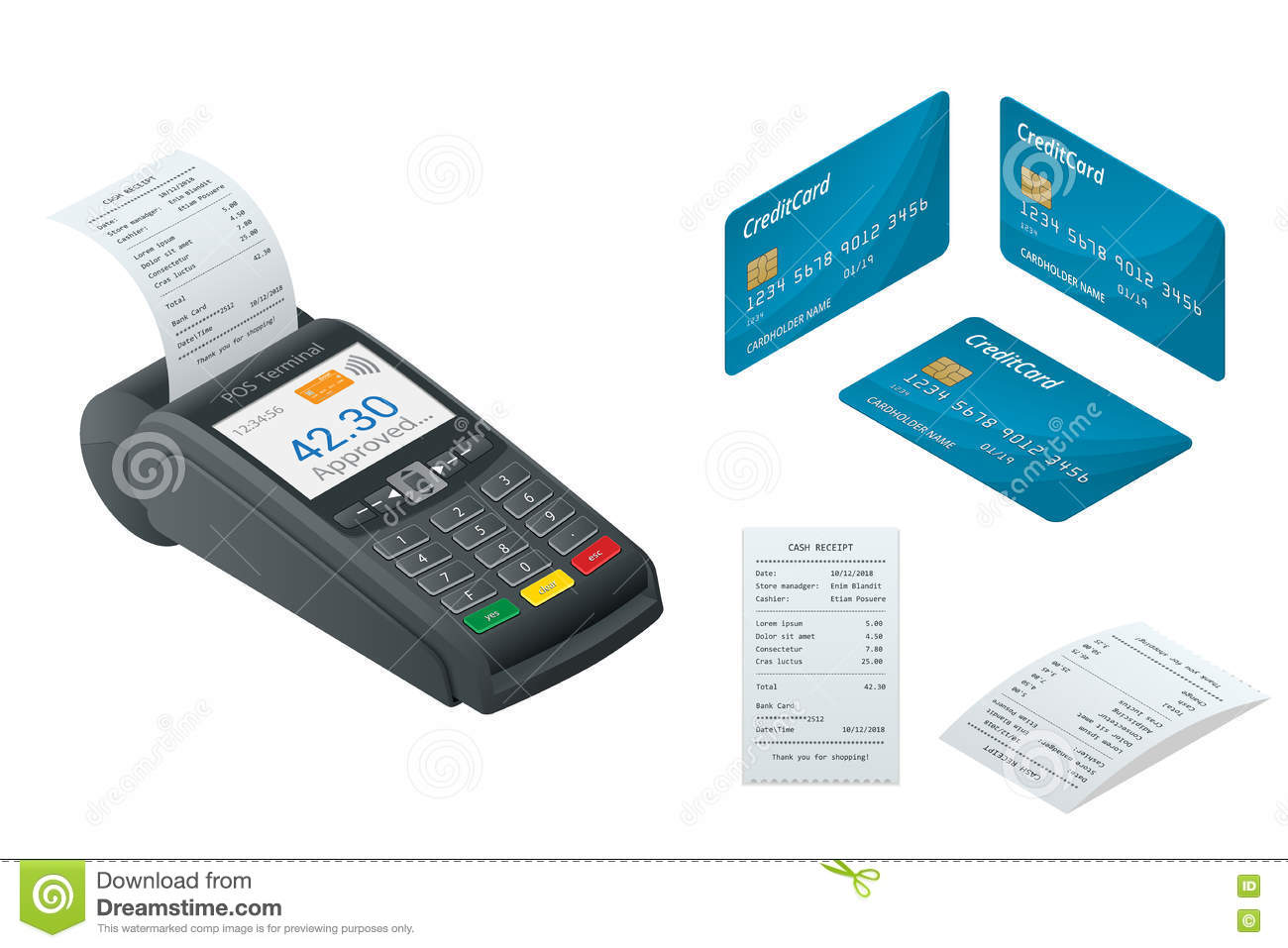 Isometric POS Terminal, debit credit card, Sales printed receipt.