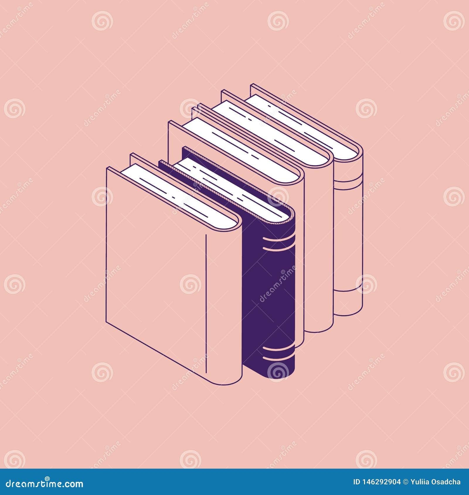 Isometric pozycja rezerwuje - odosobnioną wektorową ilustrację sterta literatura dla edukacji i szkoła uczenie pojęcia