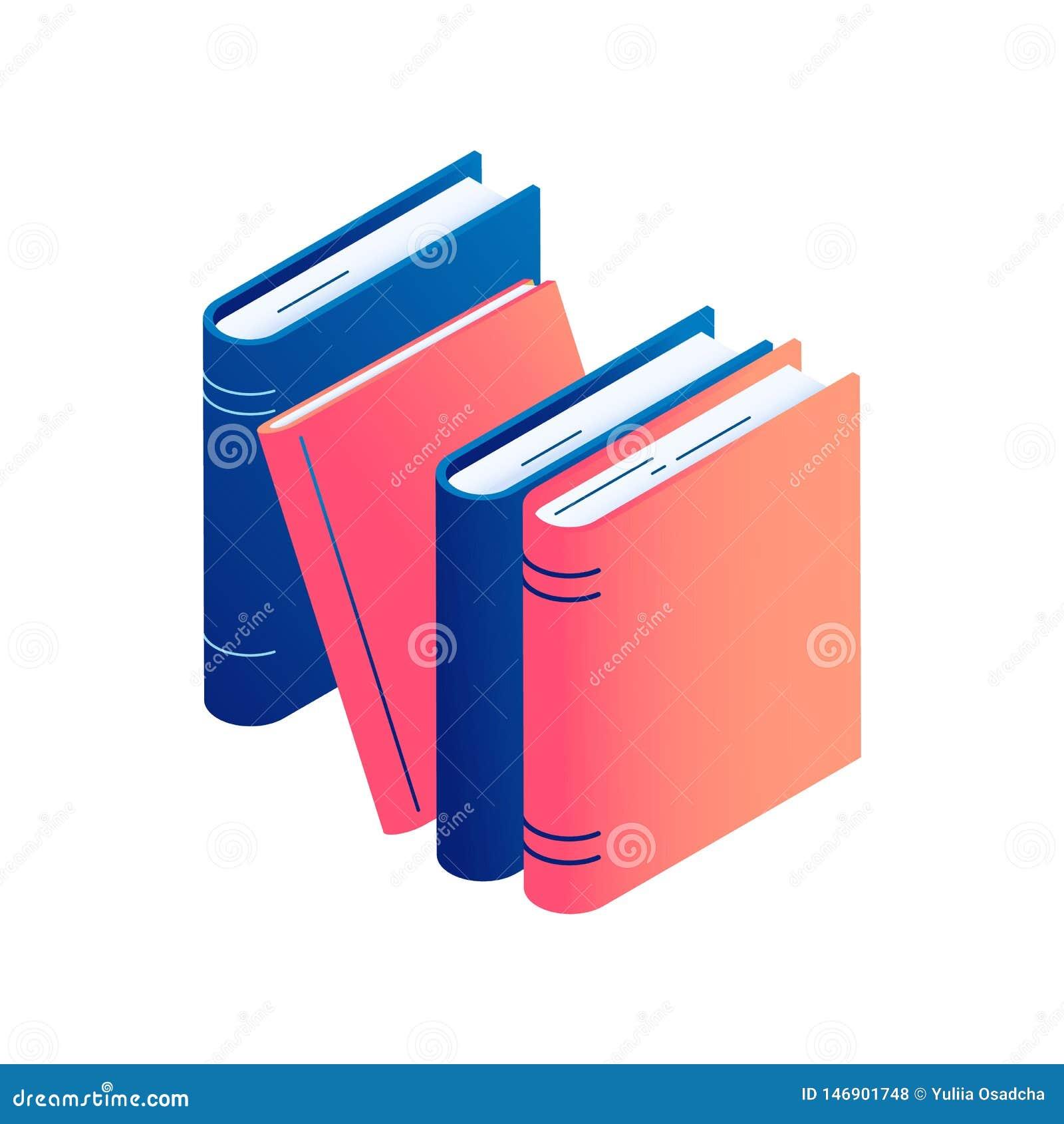 Isometric pozycja rezerwuje - odosobnioną wektorową ilustrację sterta literatura, słownik lub encyklopedia,