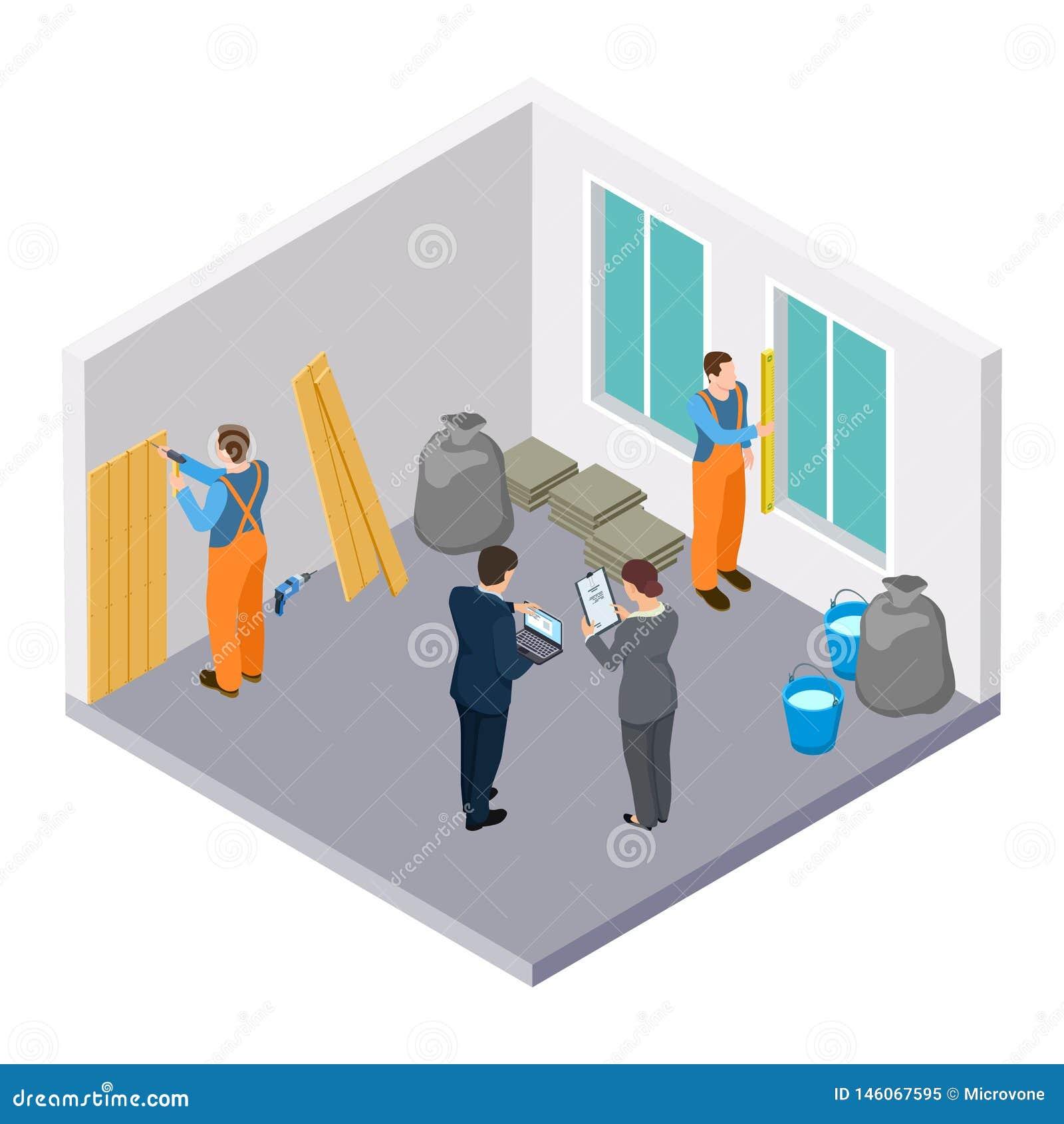 Isometric pracownicy budowlani, pokój remontowa isometric wektorowa ilustracja