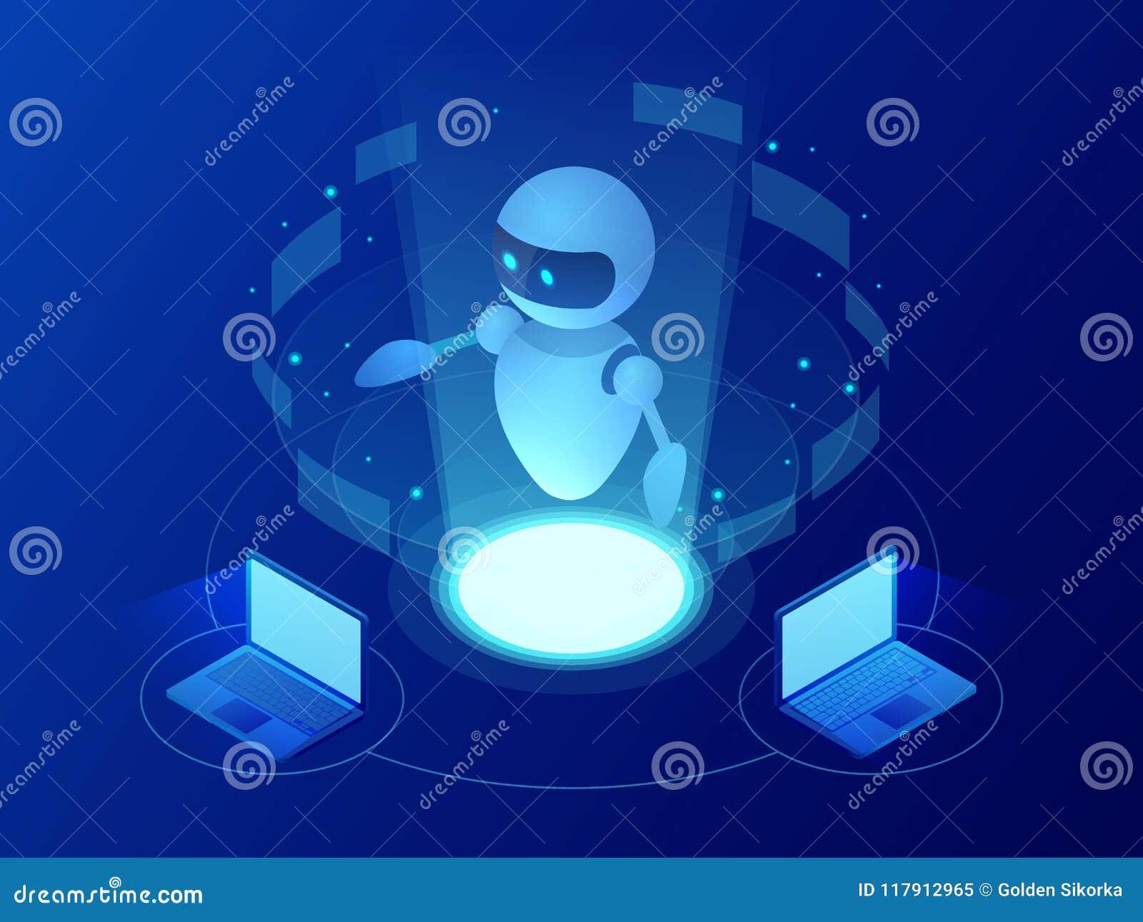 Isometric robota uczenie lub rozwiązywać problemu pojęcie Sztucznej inteligenci biznesowa wektorowa ilustracja nauka