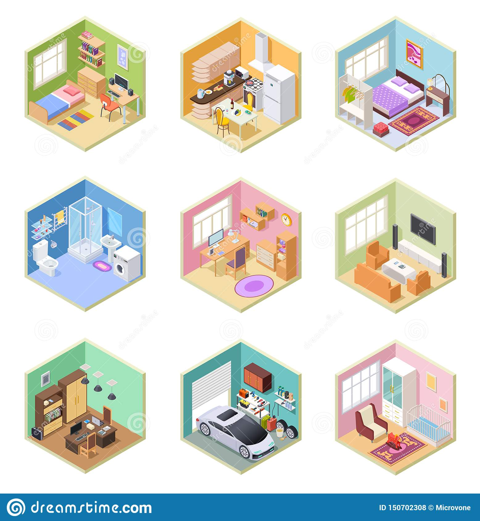Isometric Rooms. Designed House, Living Room Kitchen ...