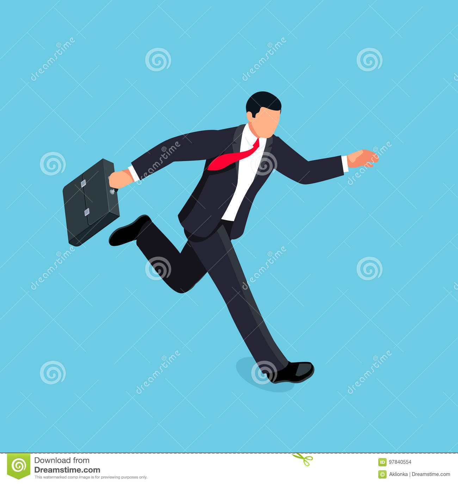 Isometric Running Businessman Isolated On Blue Background ...