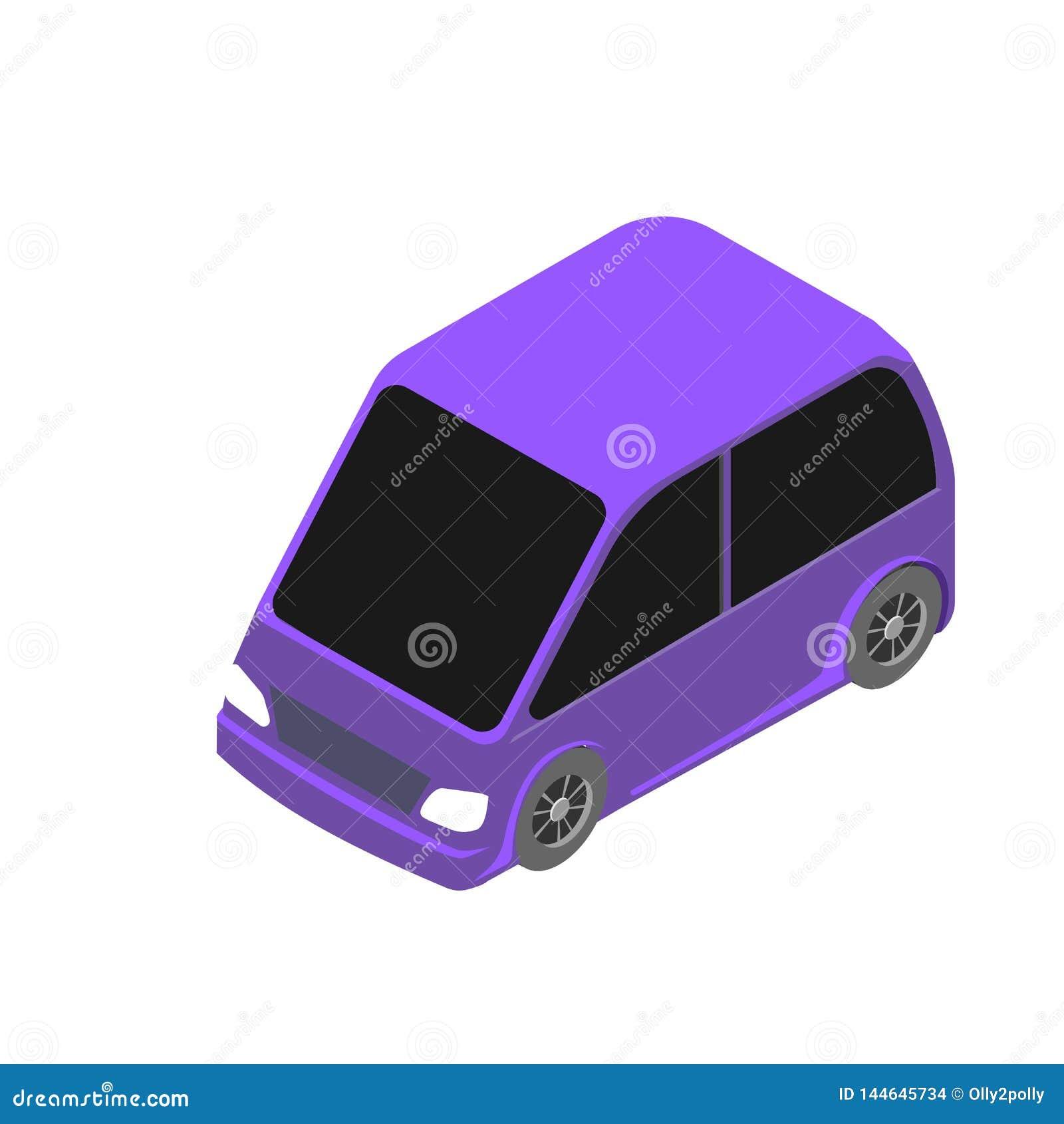 Isometric samochodowa ikona 3d wektorowa ilustracja odizolowywająca na białym tle