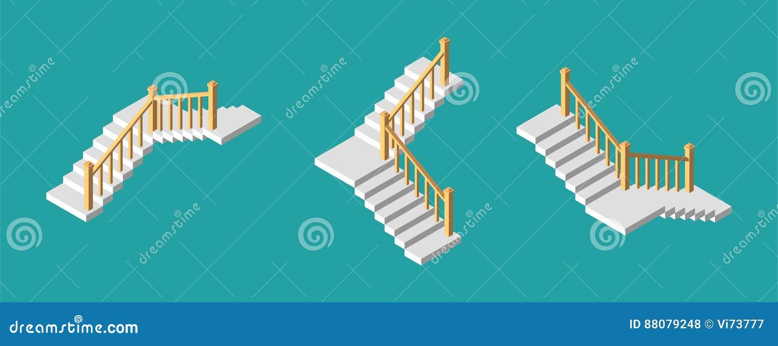 Isometric schodki z poręczem również zwrócić corel ilustracji wektora