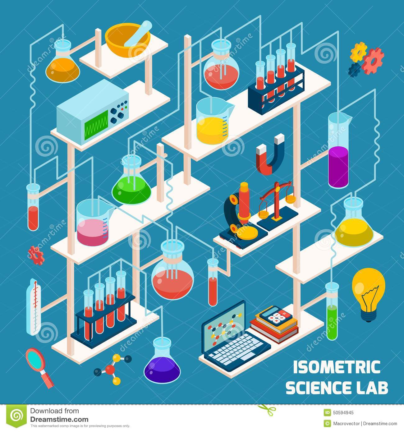 Plan Design Software Isometric Science Lab Stock Vector Image 50594945