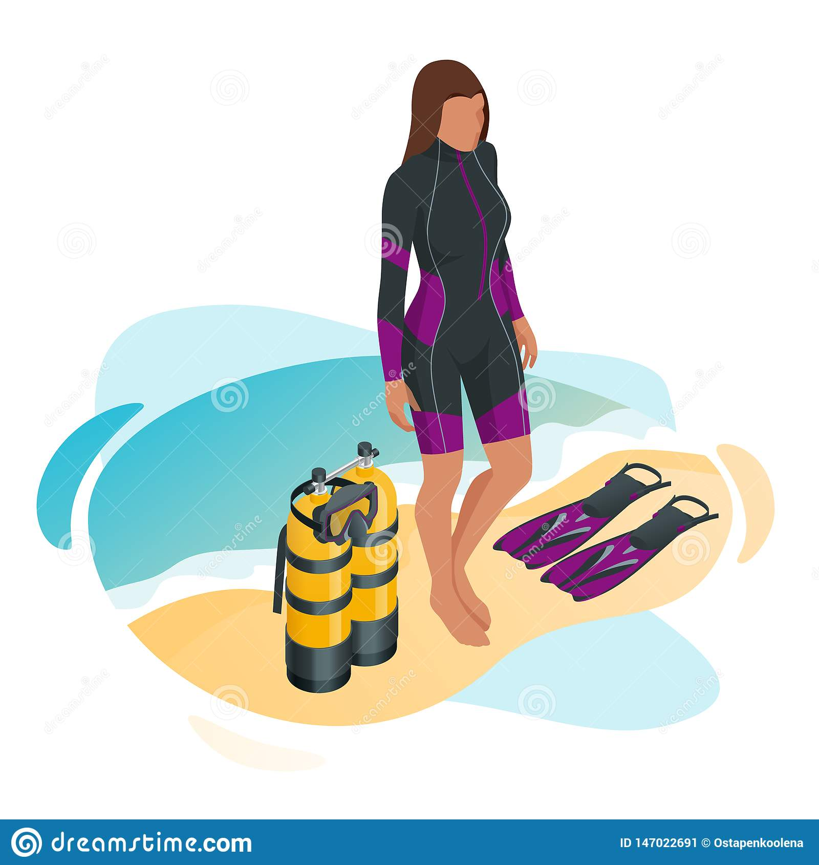 Woman Enjoying At Beach Stock Image Image Of Pleasure: Isometric Scuba Diver After The Dive Is Beached. Woman