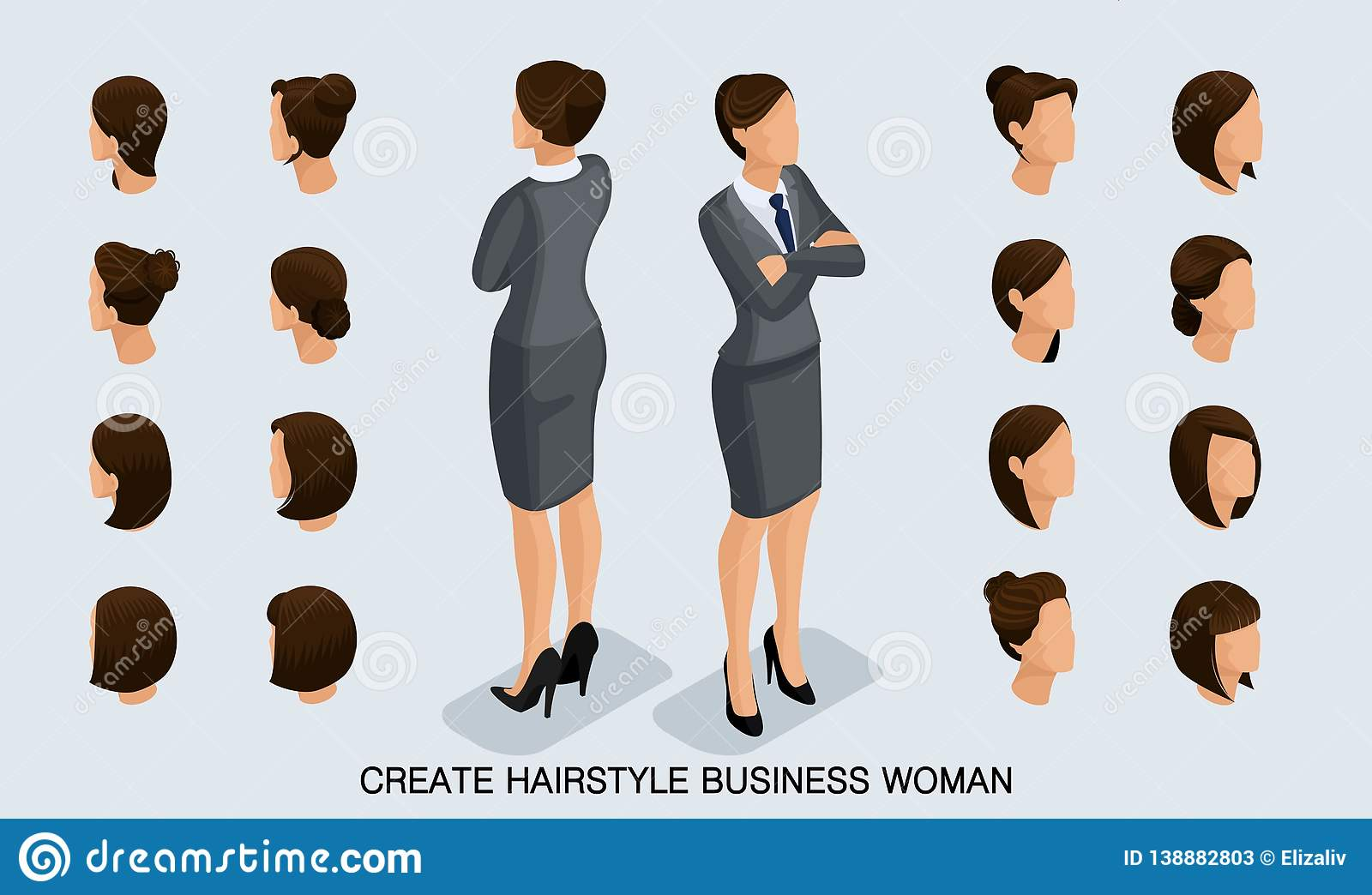 Isometric Set Business Women And Hairstyles Stock Vector ...