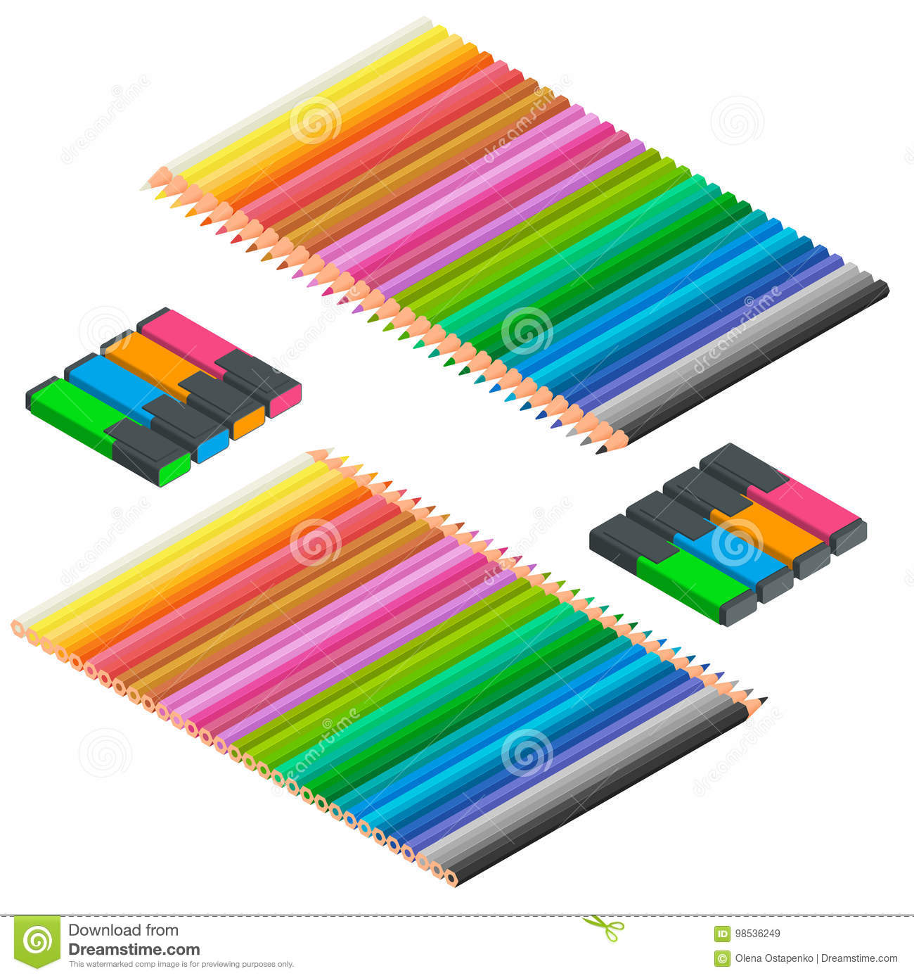 office drawing tools. Isometric Set Of Colored Pencils And Markers. Office Stationery Set. Supplies, Writing Drawing Tools, Desk Tools