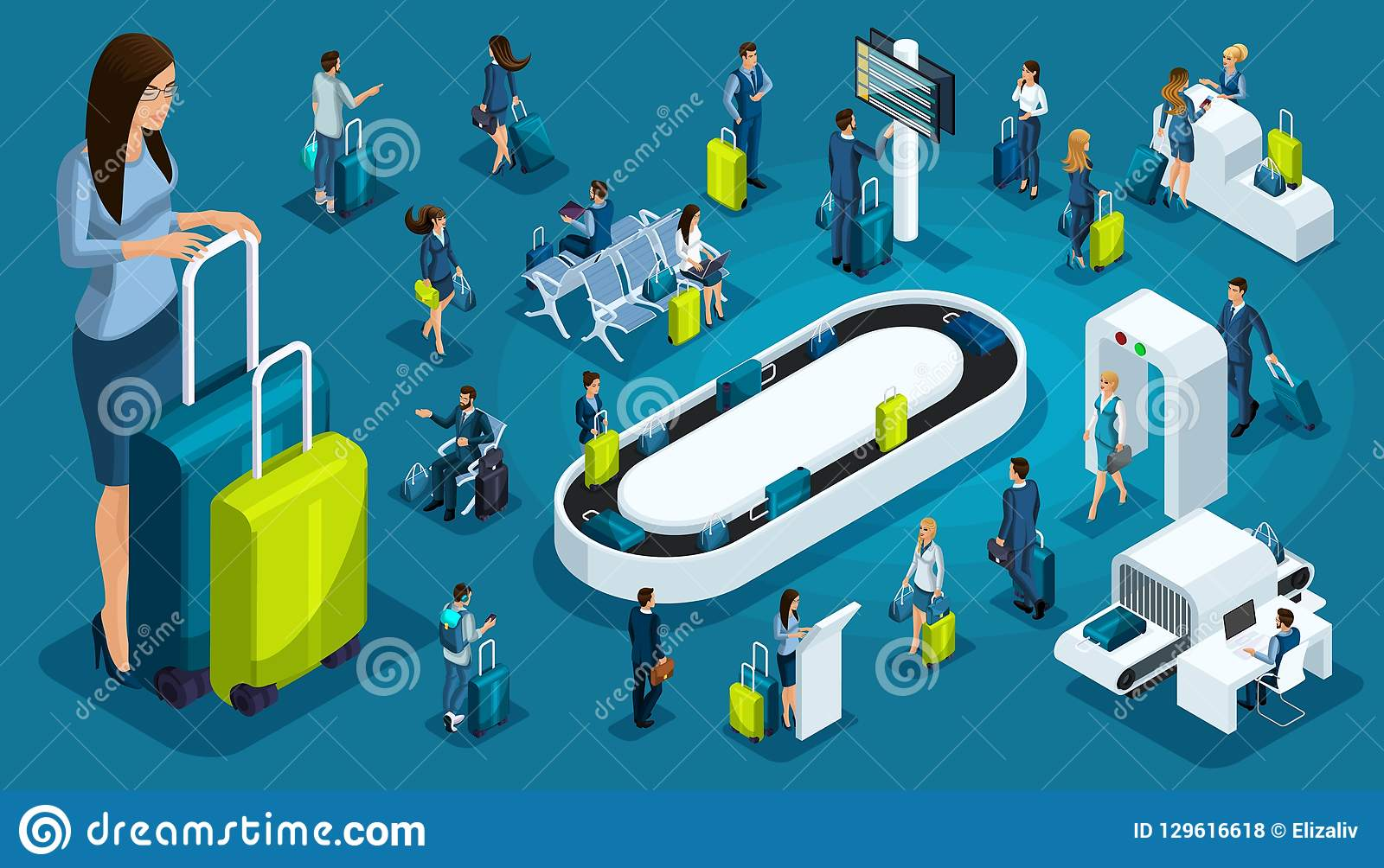 Isometric set international airport icons, passengers with luggage, big business lady on a business trip, transit zone, air lines