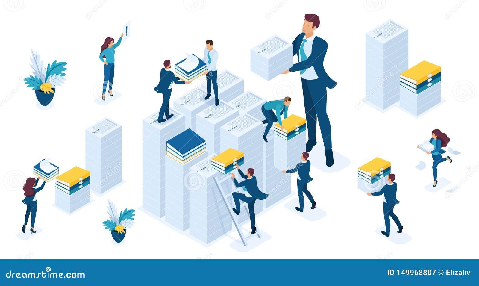 Isometric set ludzie biznesu uzupełnia raporty dla podatku, biznesowa rewizja, podatku okres, młodzi biznesmeni