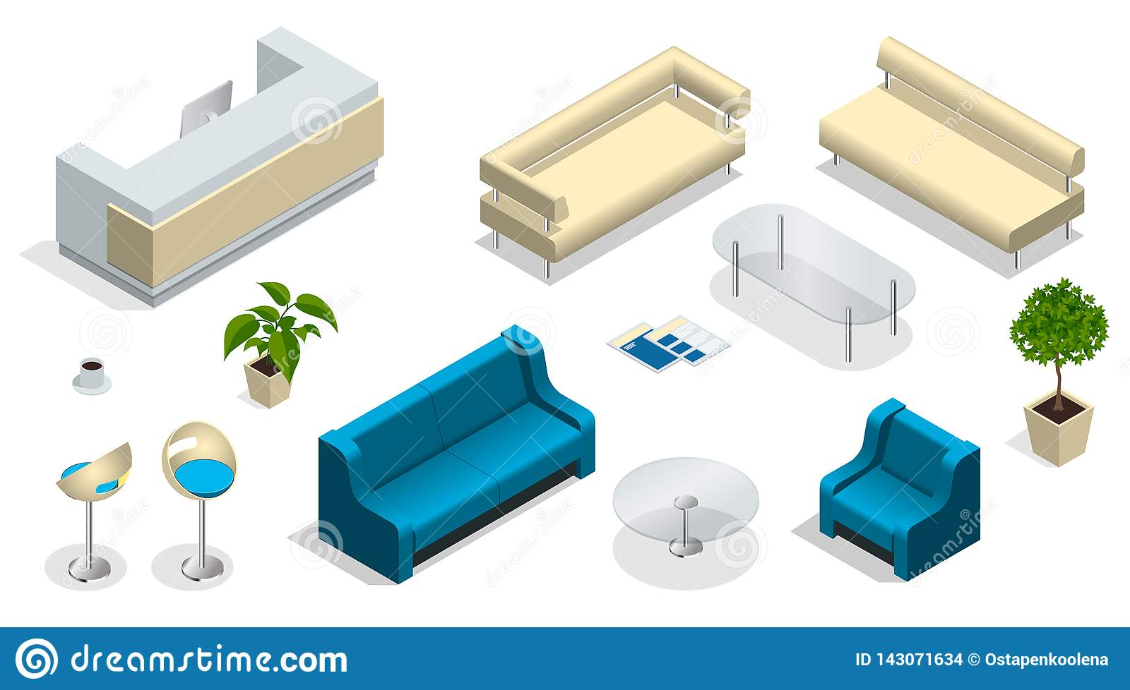 Marvelous Isometric Set Of Modern Office Furniture Modern Office Beutiful Home Inspiration Ommitmahrainfo