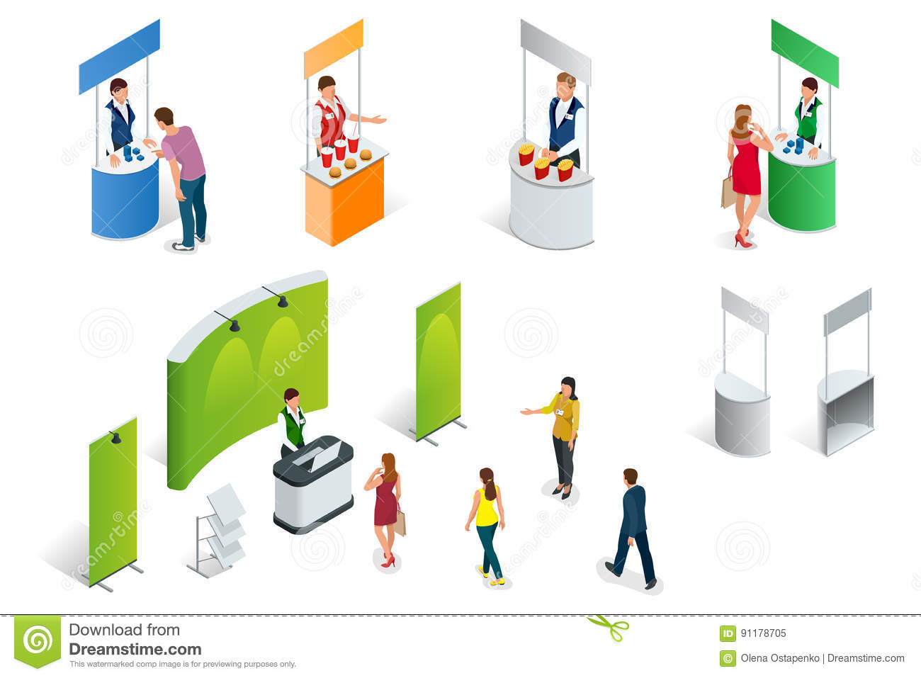 Exhibition Booth Vector Free Download : Isometric set of promotion stands on a white background