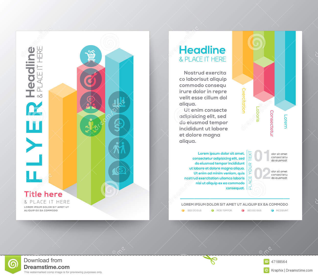 isometric shape design brochure flyer layout vector template stock