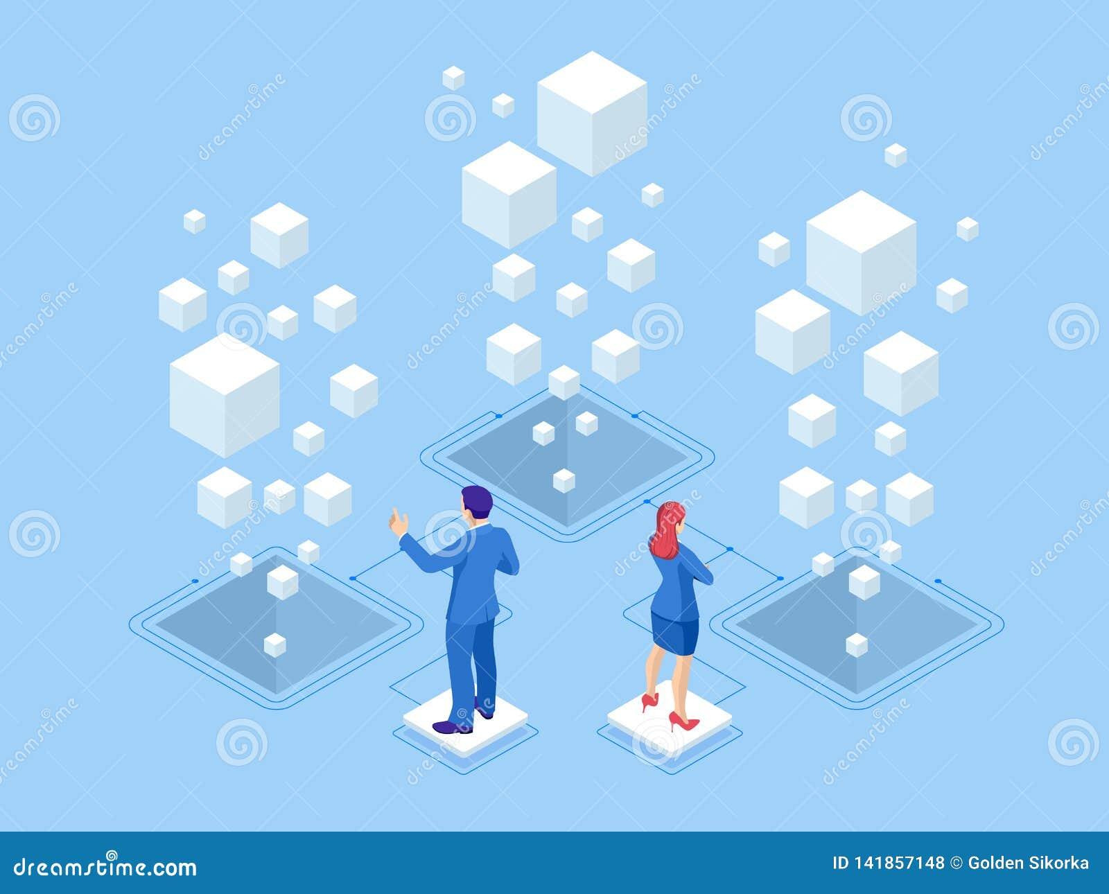 Isometric sieć sztandaru dane statystyk i analizy pojęcie Wektorowe ilustracyjne biznesowe analityka, dane unaocznienie