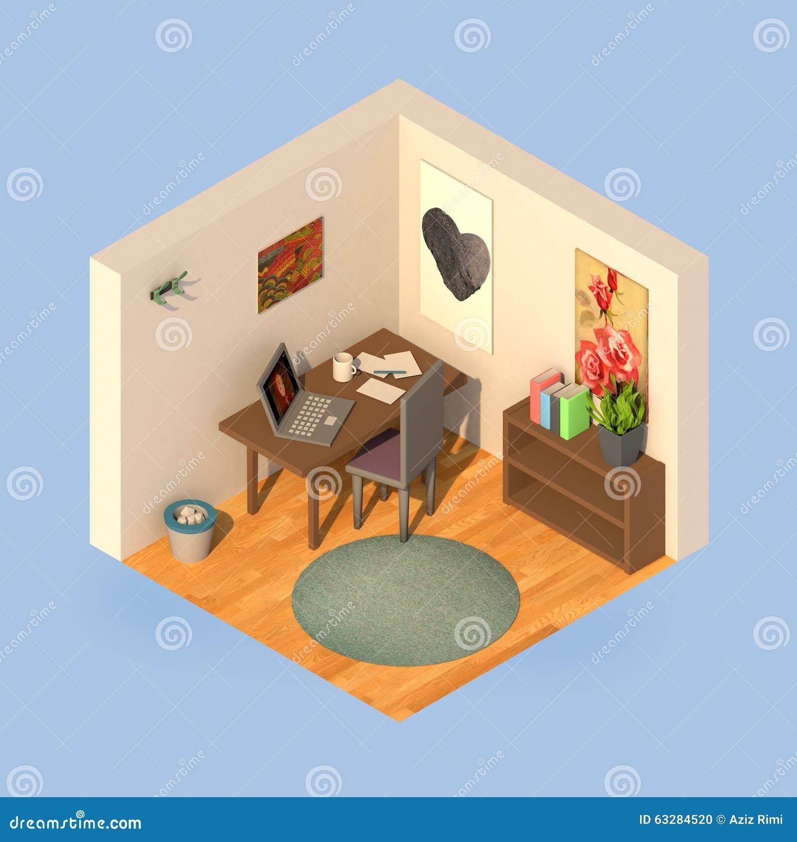 Isometric Simple Room Stock Illustration Image 63284520