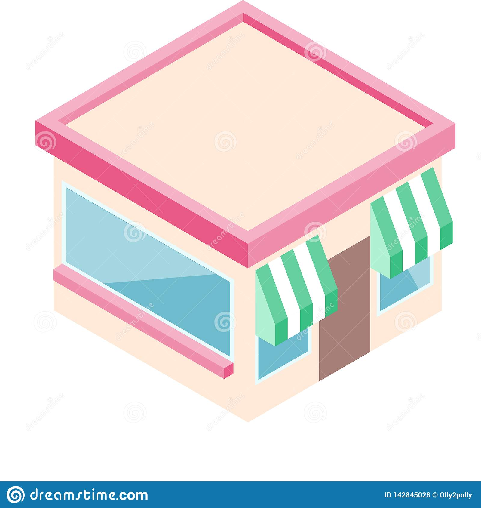 Isometric sklep w mieszkanie stylu Biznesowego projekta wektorowa ilustracja dla cyfrowego marketingu