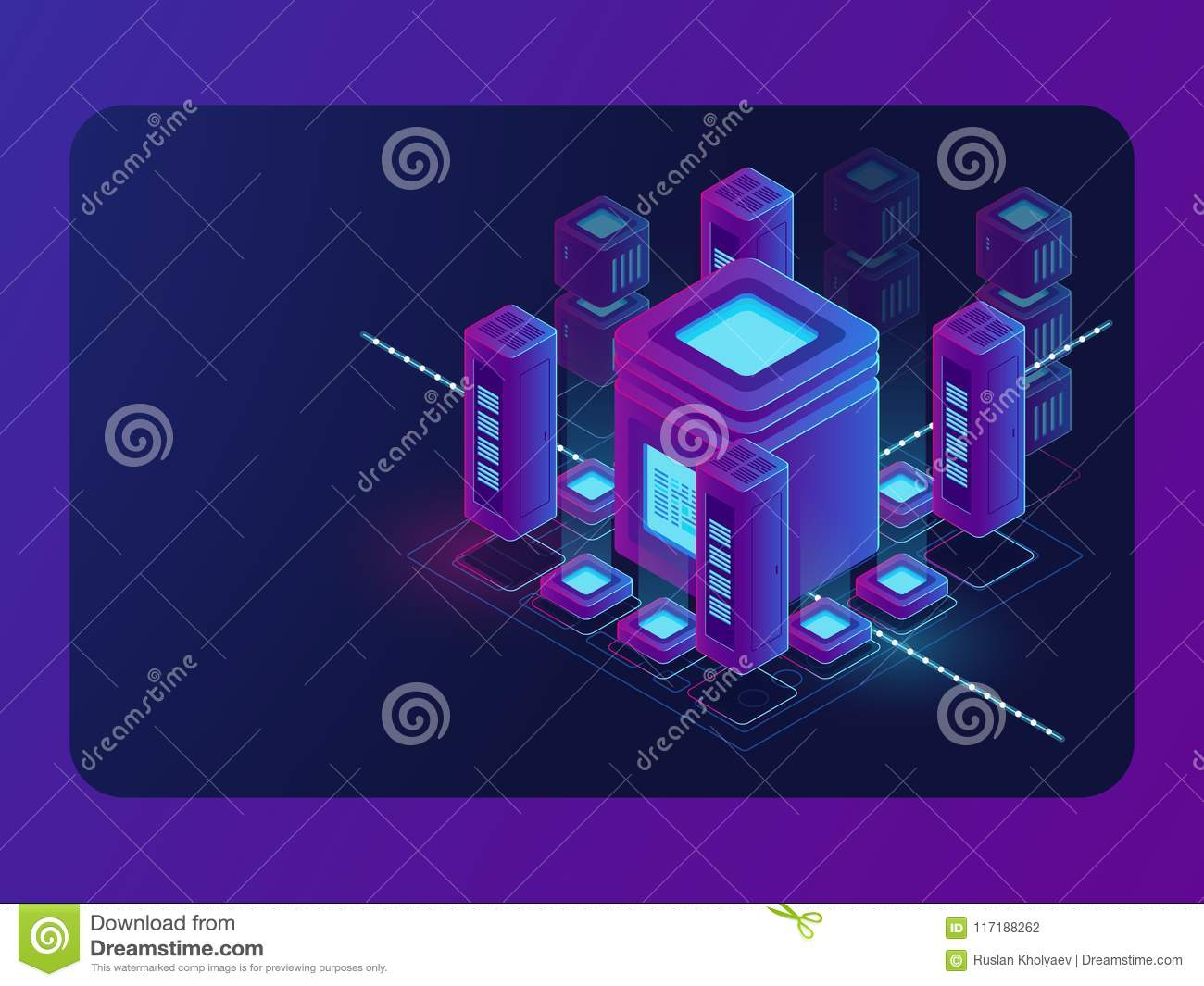 Isometric smart city, digital town, server room, big data flow processing, data center and database warehouse