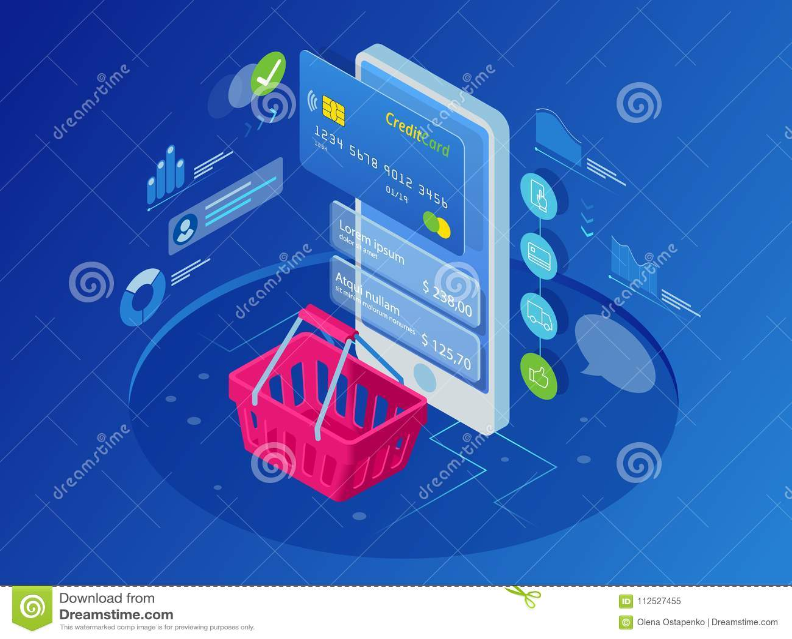 e124ef29827 Isometric Smart Phone Online Shopping Concept. Stock Vector ...