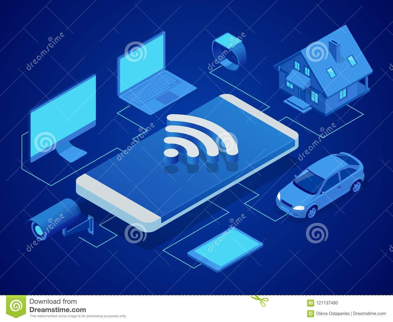 Isometric smart technology to control the house, computer, smart watch, machine, video surveillance, tablet. Security