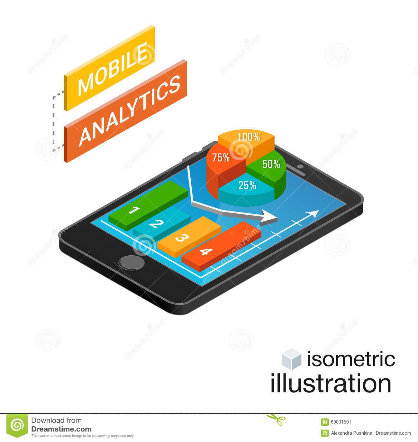Isometric smartphone με τις γραφικές παραστάσεις σε ένα άσπρο υπόβαθρο Κινητή έννοια analytics Isometric διανυσματική απεικόνιση