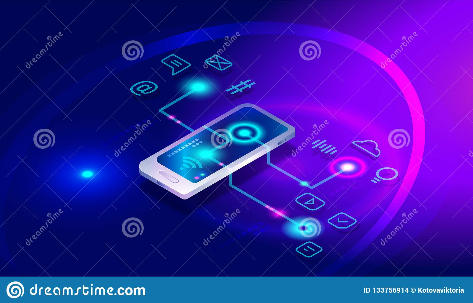 Isometric smartphone with different applications, apps, on-line services, software. Isometric smartphone, mobile phone, banking