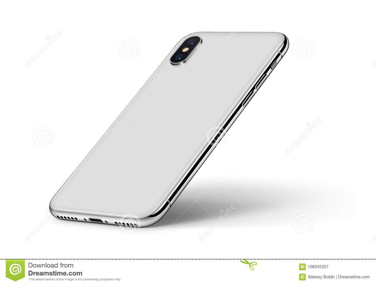 Perspective smartphone similar to iPhone X back side with shadow CW rotated on white background