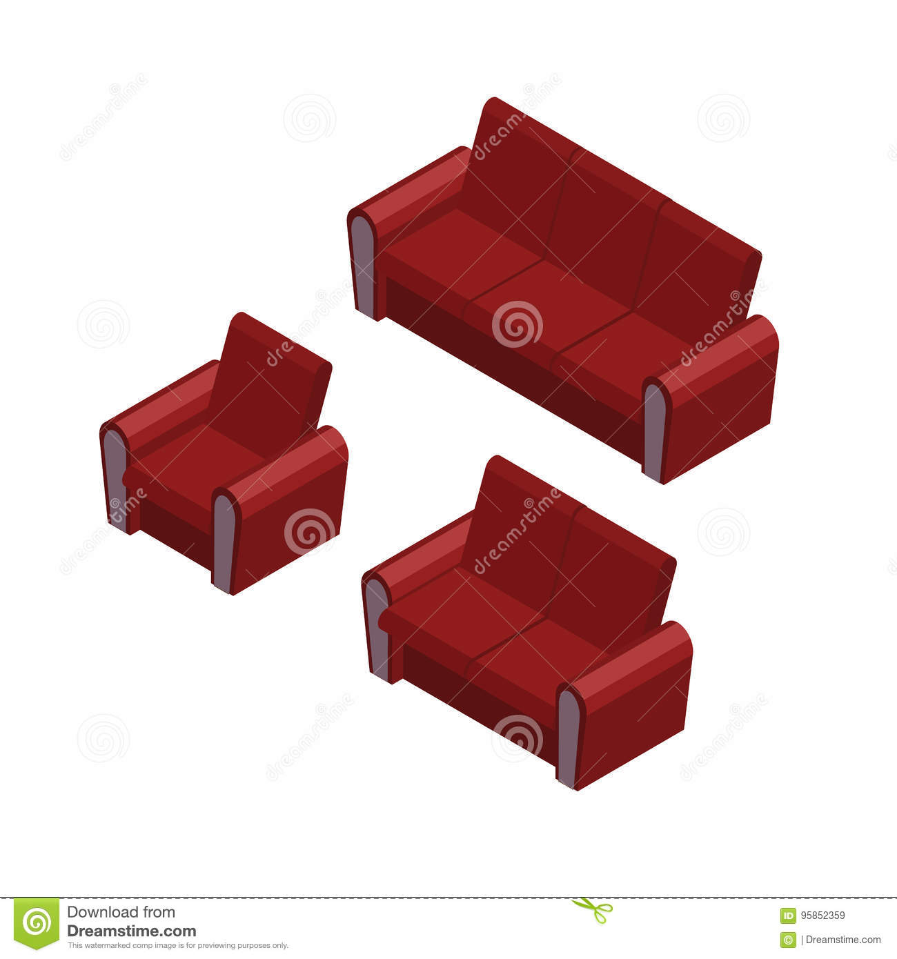 Isometric Sofa And Armchair Set Furniture Icons Stock Vector