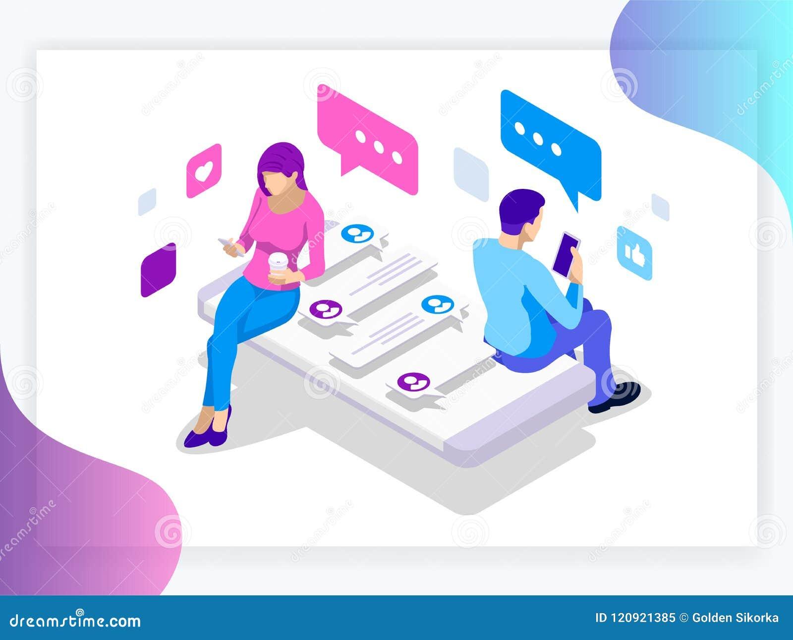 Isometric sztandar wirtualni związki i online networking pojęcie datowanie i ogólnospołecznego szczęśliwa dzień przyjaźń