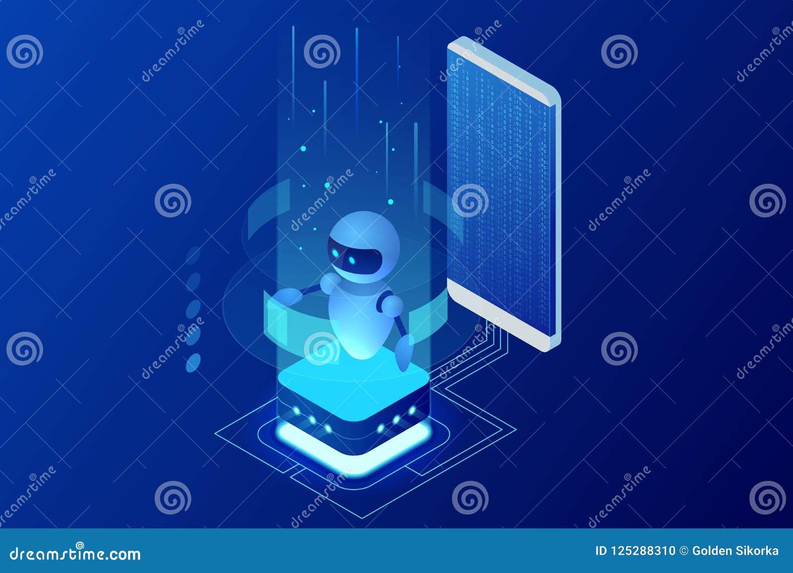 Isometric sztuczna inteligencja Chatbot i przyszłościowy marketing AI i biznesowy IOT pojęcie Dialog pomocy usługa