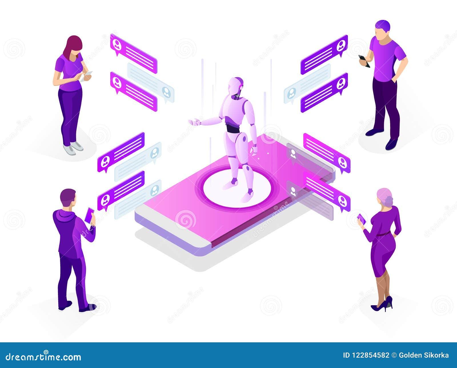 Isometric sztucznej inteligenci pojęcie AI i biznesowy IOT pojęcie Mężczyzna komunikuje z chatbot przez chwila