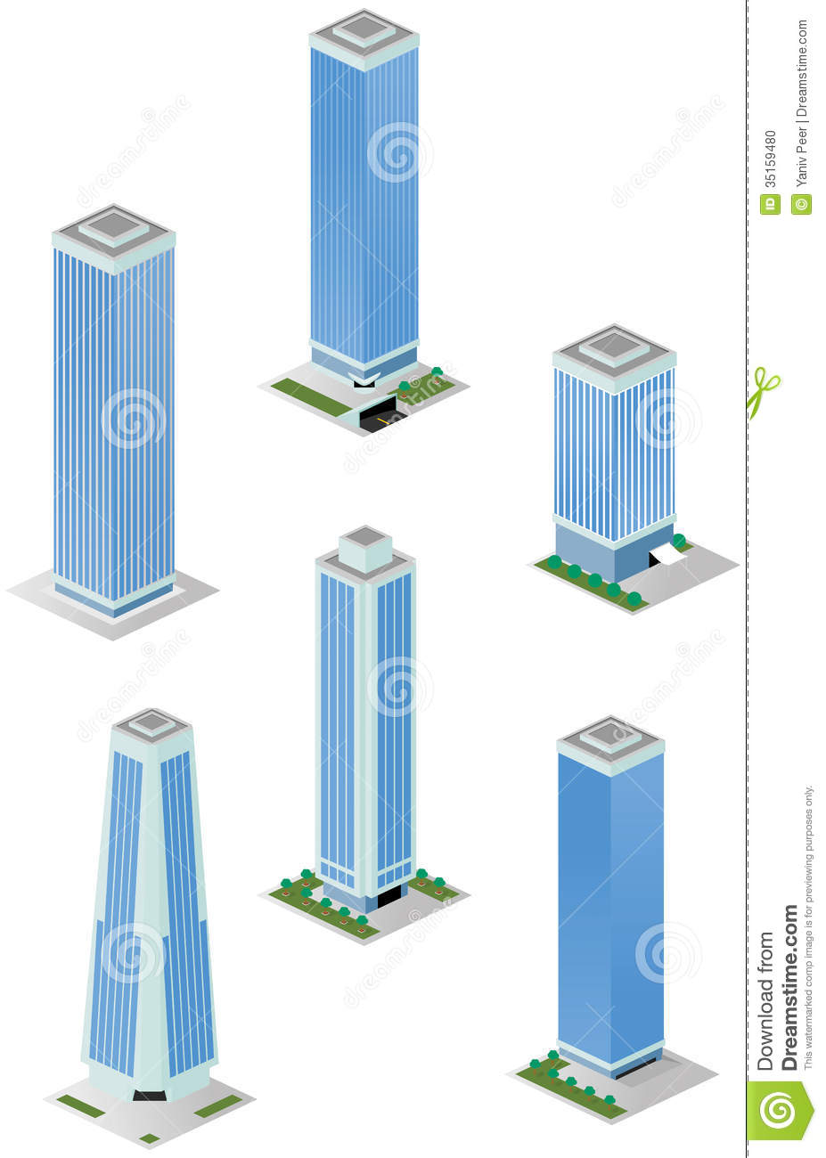 Isometric Tall City Office Buildings Stock Photo Image 35159480