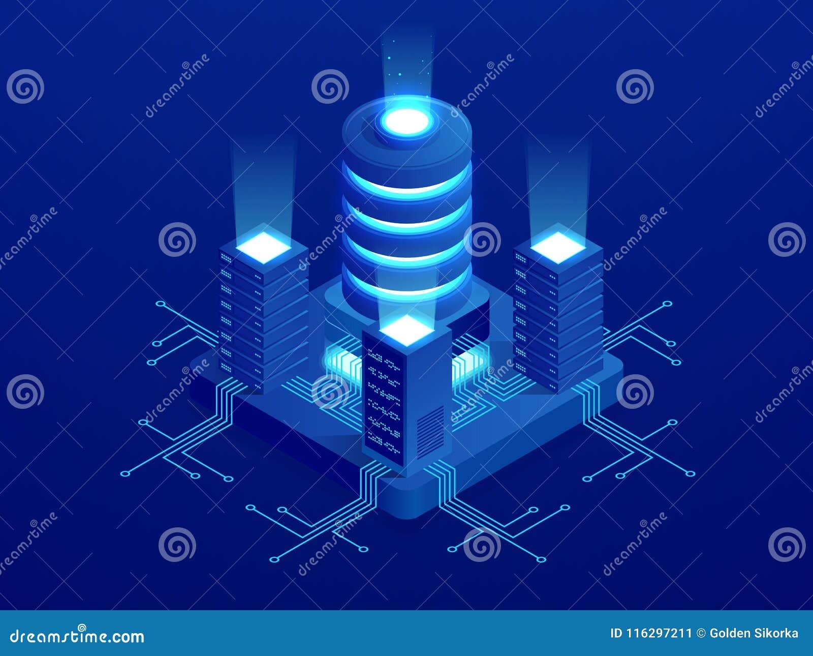 Isometric technologii cyfrowej sieci sztandar DUZI dane Maszynowego uczenie algorytmy Analiza i informacja Duży dane dostęp