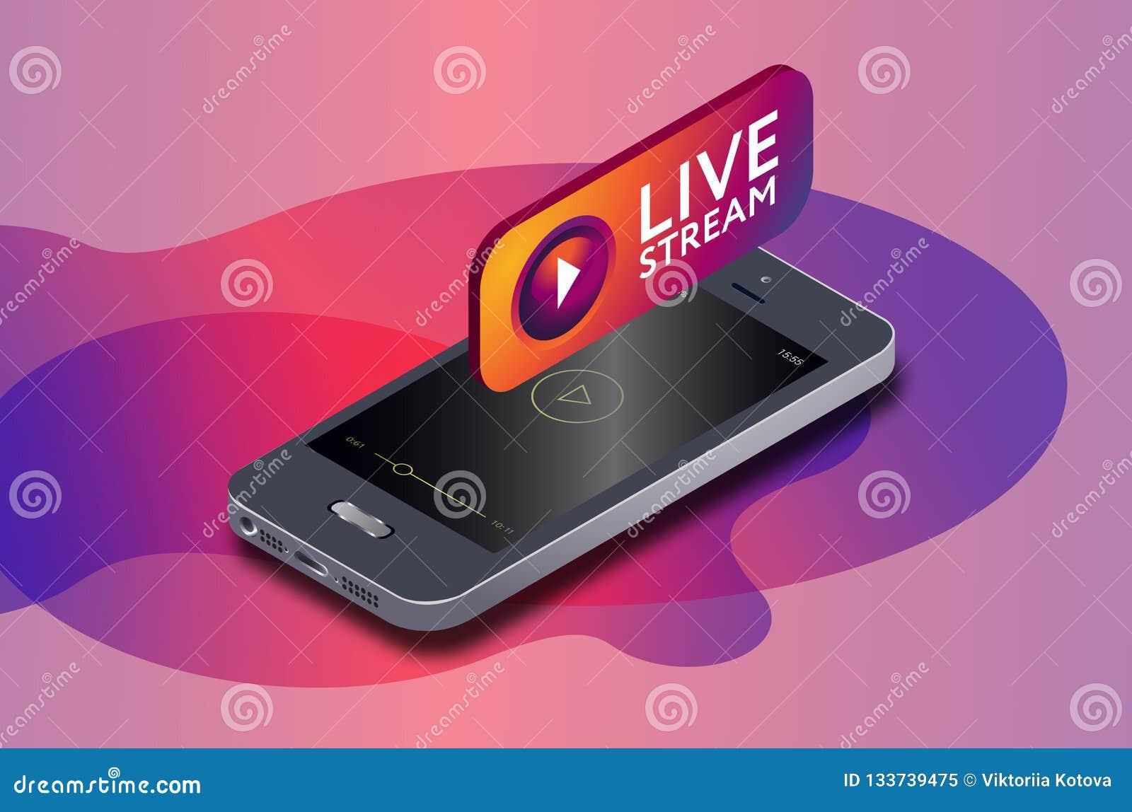 Isometric telefonu komórkowego i instagram wideo strumienia żywa ikona instagram online lać się przez smartphone