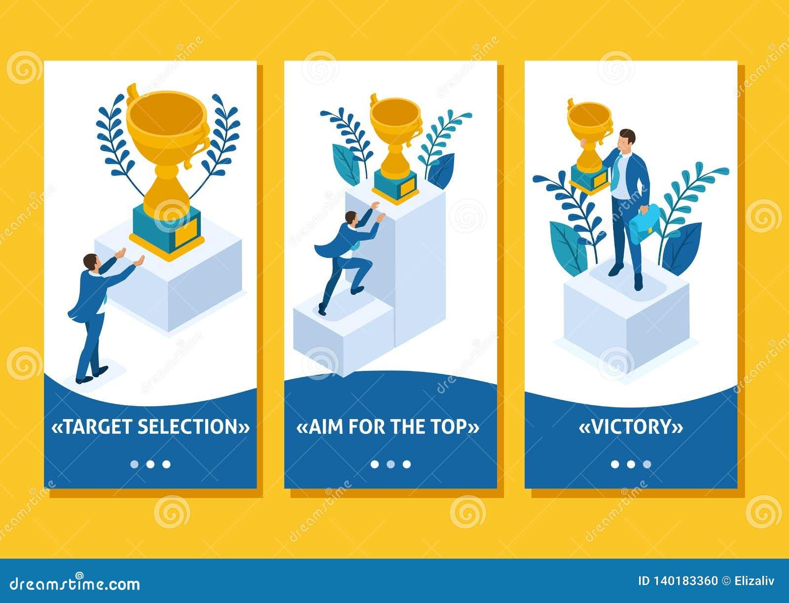 Isometric Build a career, Businessman Succeed