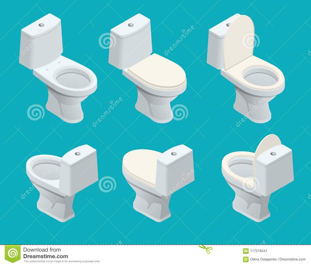 Isometric Toilet Equipment Collection For Interior Design. Set Of ...