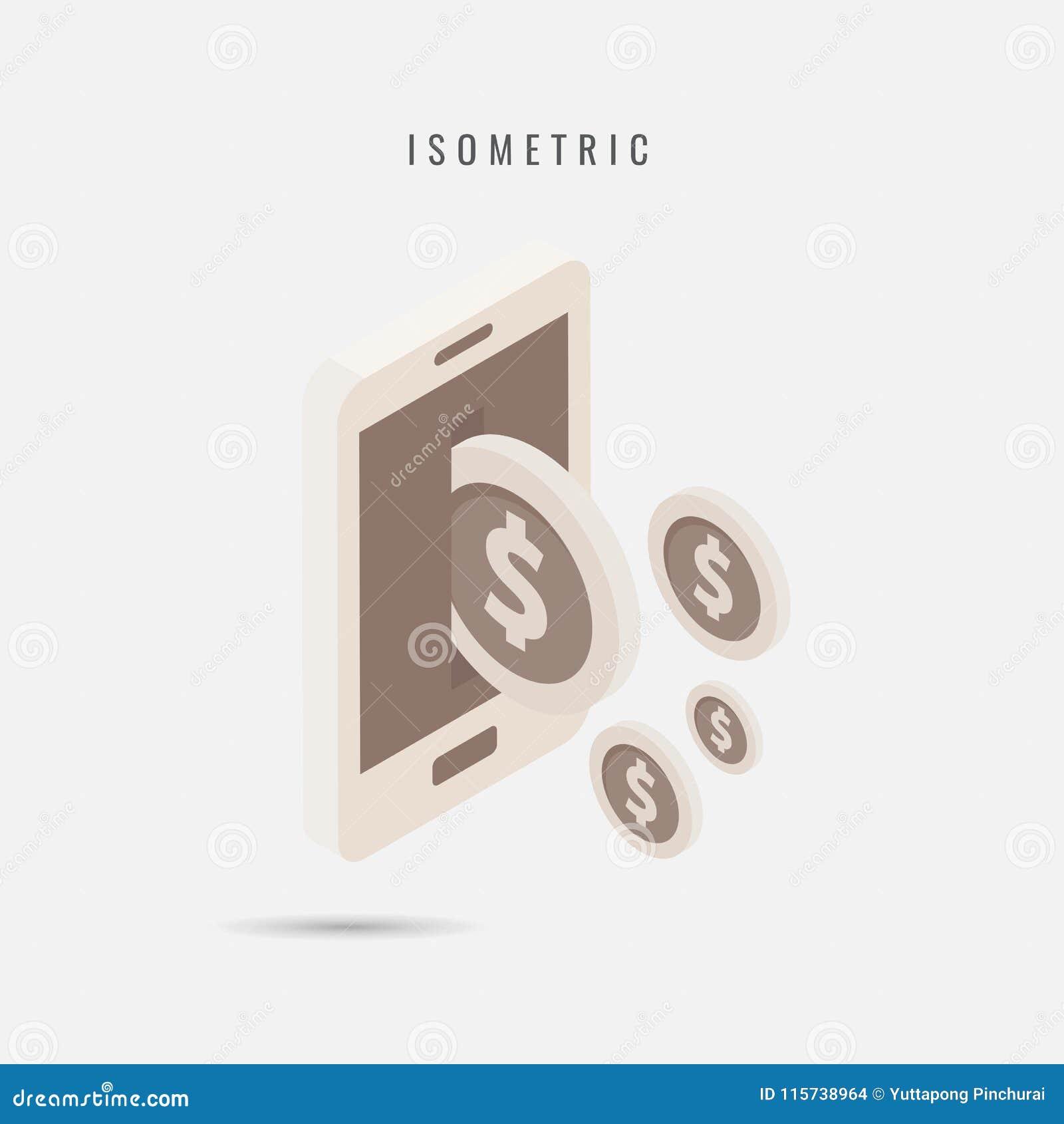 Isometric transferência de dinheiro móvel do ícone, símbolo do vetor no estilo é