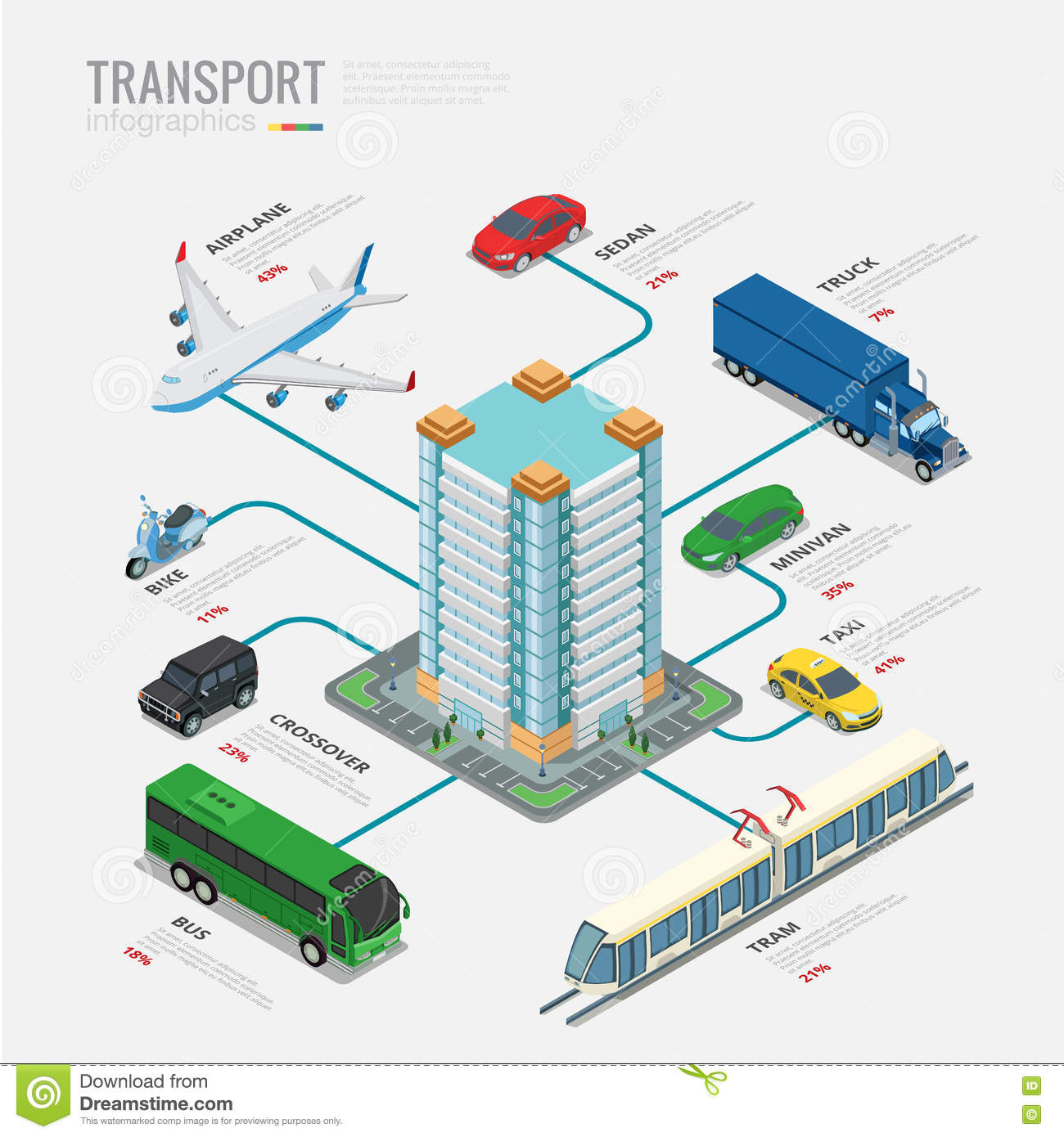 Isometric Transport Infographics Vector Flat 3d Il Stock Vector