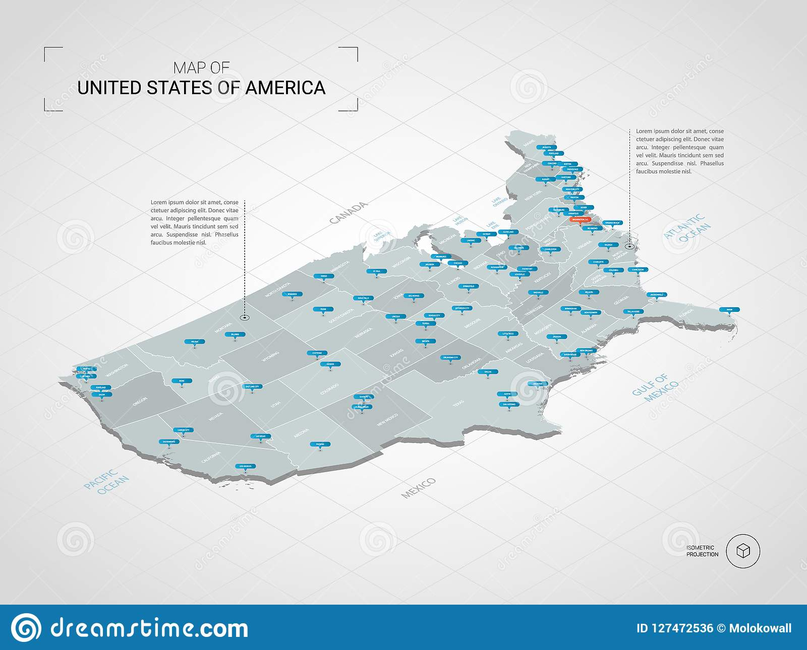 Isometric United States Of America Map With City Names And Admin ...