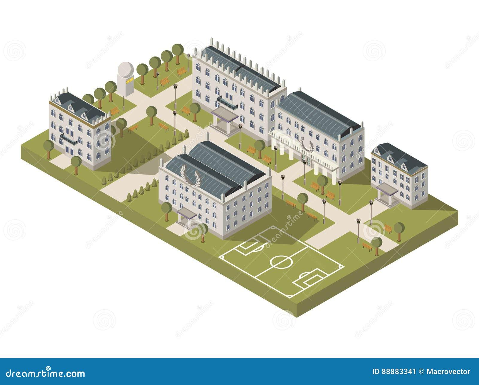 Isometric University Campus Concept Stock Vector ...  Isometric Unive...