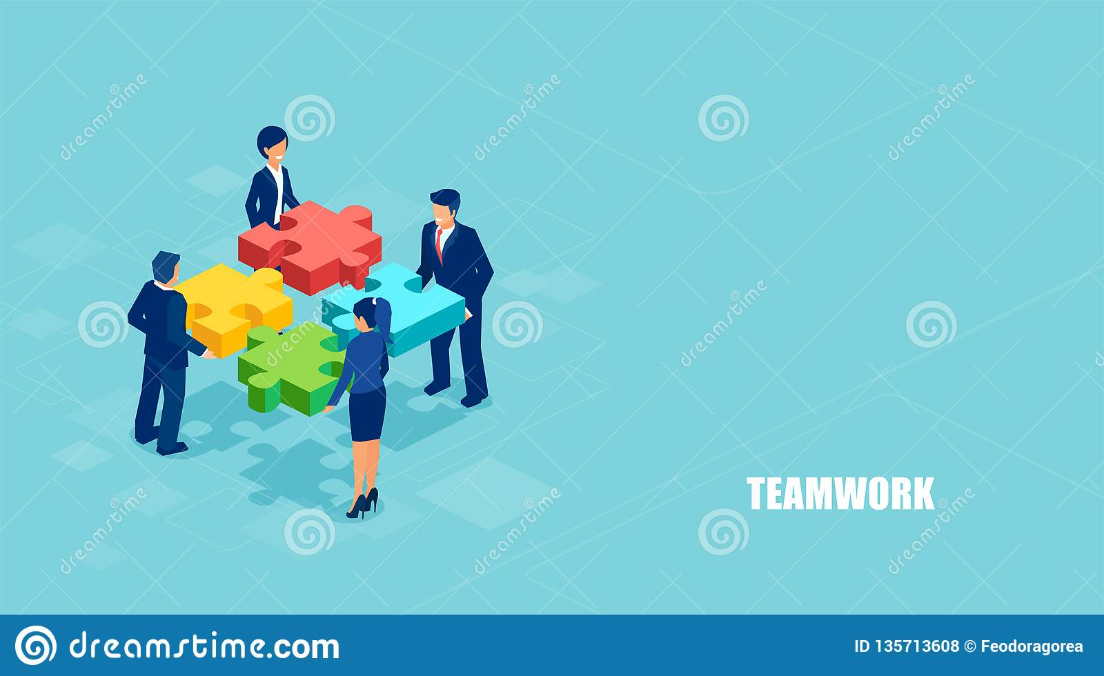 Isometric vector of business people solving a problem in team isolated on blue background