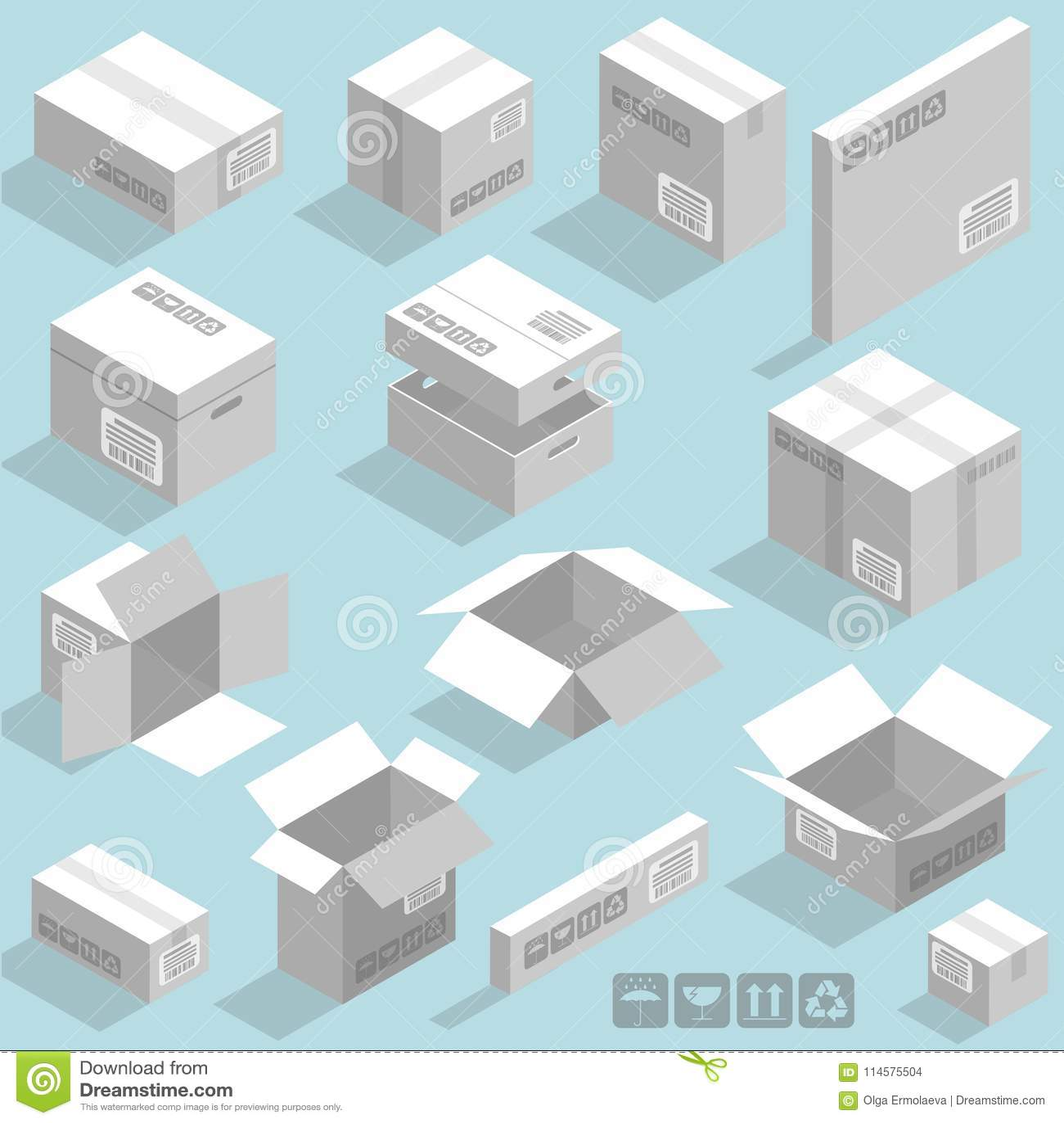Isometric vector cardboard boxes stock vector illustration of isometric vector cardboard white boxes templates vector design element set maxwellsz