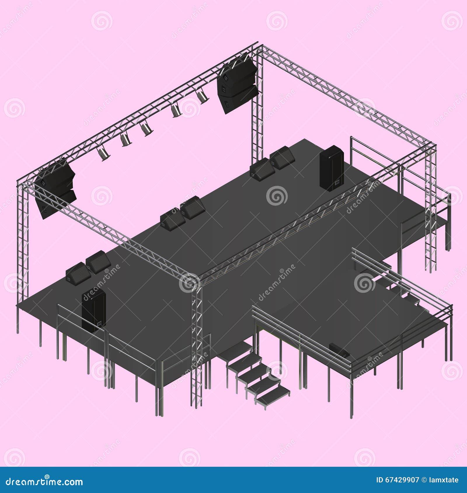 Stage Isometric Poster Cartoon Vector Cartoondealer Com