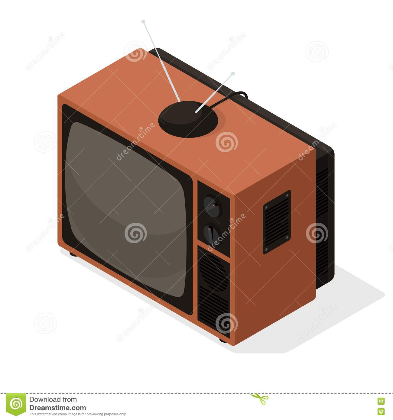 isometric vector icon of retro television tv set with aerial on the