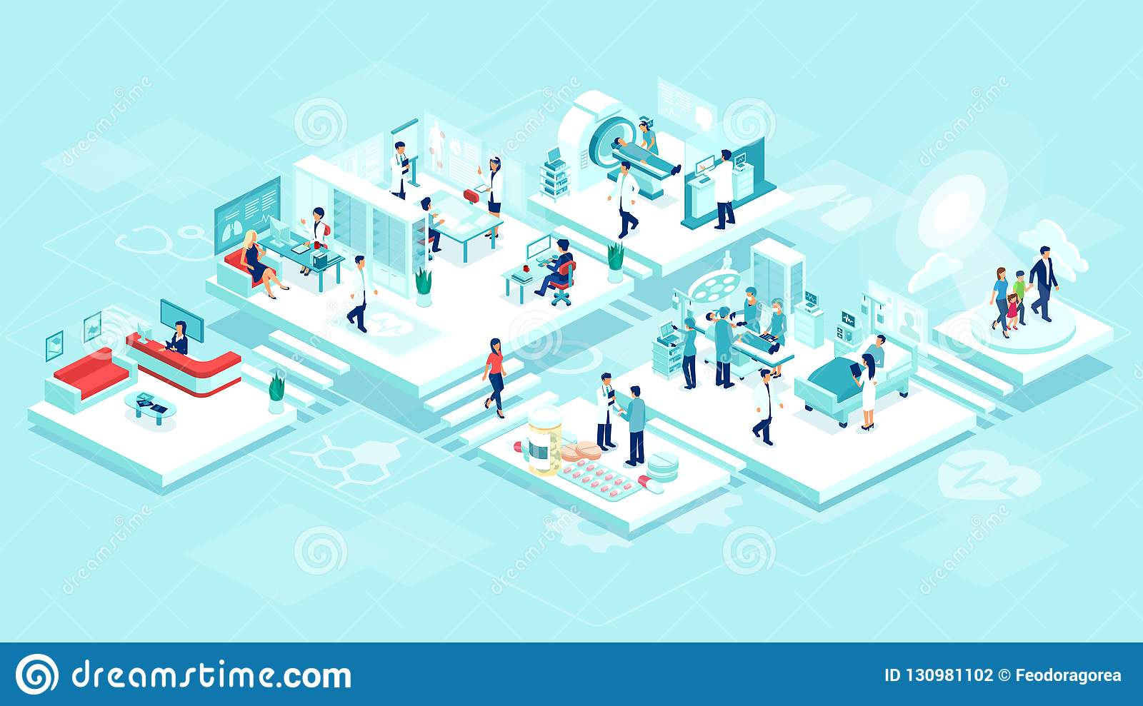 Isometric vector of a medical clinic hospital inpatient care with rooms, patients, doctors and nurses.