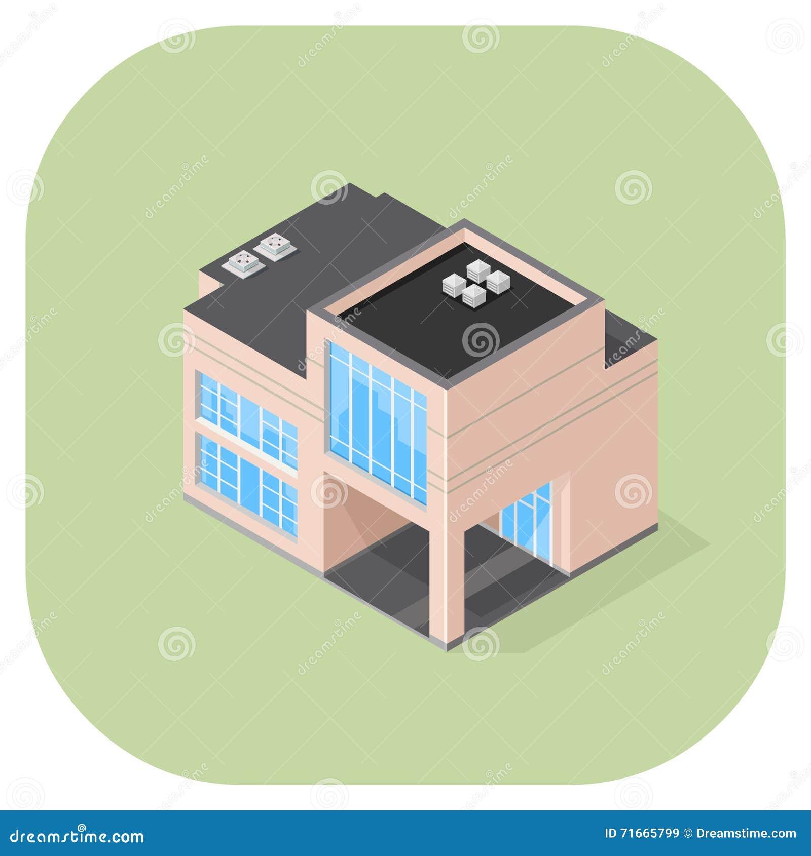 Isometric Vector Modern Office Flat Icon Design Stock Vector