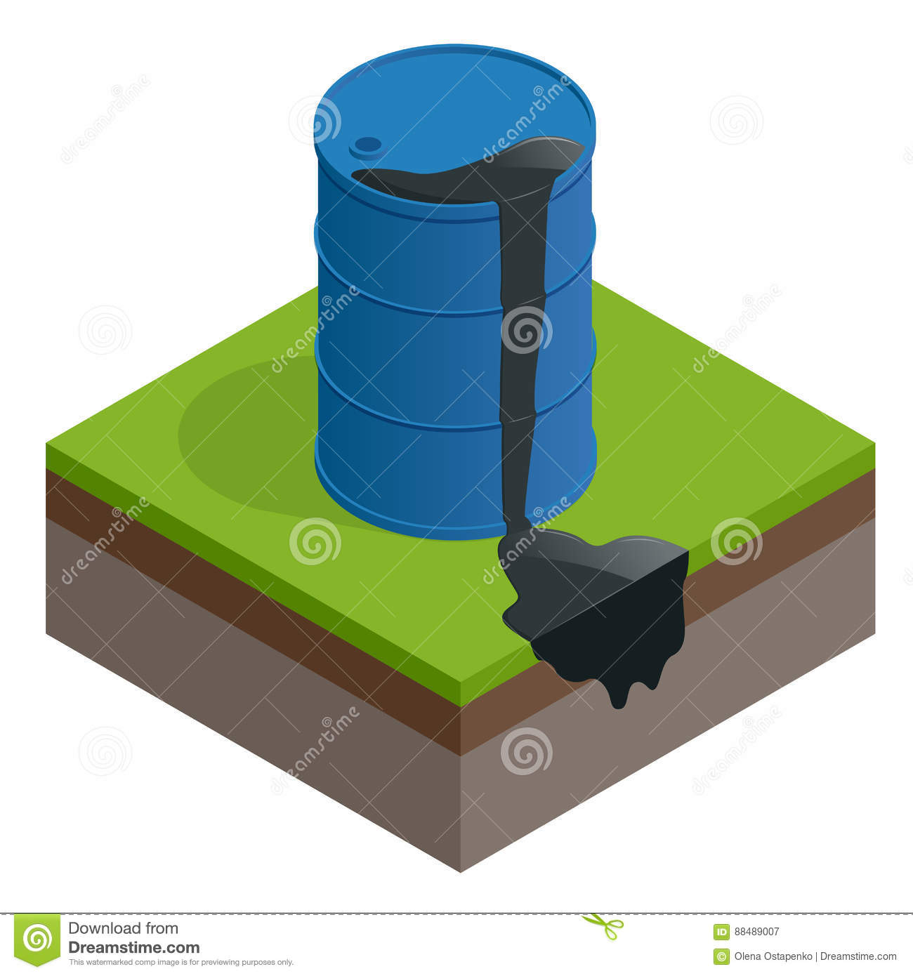 Isometric vector Oil spill or waste. Oil barrel dirty drum isolated on white background.